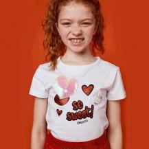 Camiseta con luz corazones blanco