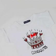 Camiseta corona brillo oscuridad blanco