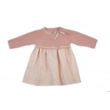 Vestido mixto motita rosa