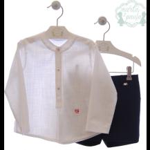Conjunto bermuda + camisa monet azul