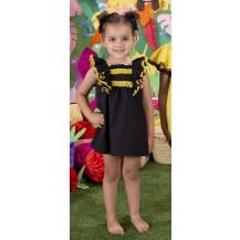 Vestido negro flecos amarillo