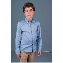 Camisa niño azul coderas camel