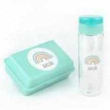 Pack Botella 600ml + Cajita Porta Alimentos Arcoíris Soft Menta personalizadas