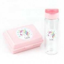 Pack Botella 600ml + Cajita Porta Alimentos Unicornio Rosa personalizadas