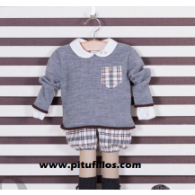 Conjunto bombacho cuadros gris/marron y blusa cuello bebé