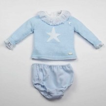 Conjunto suéter estrella celeste + braguita volante