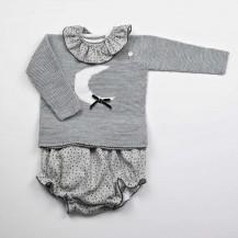 Conjunto niña suéter + braguita luna gris (sin cuello)