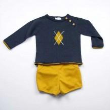 Conjunto pantalón mostaza y suéter cenefa