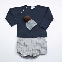 Conjunto suéter + pantalón gorro petroleo