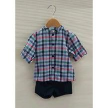 Conjunto pantalón y camisa cuadros azul