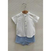 Conjunto pantalón y blusa pablo celeste