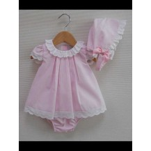 Vestido + braga + capota minirayas primor rosa