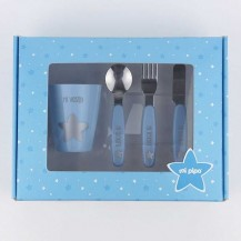 Set vasito y cubiertos acero personalizados azul