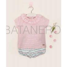 Conjunto blusa plumeti rosa y pololo rombos