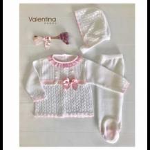Conjunto hilo bordado blanco y rosa + capota