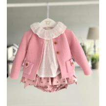 Conjunto braguita estrellas + blusa rosa empolvado