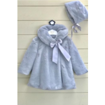 Abrigo pelo muton + capota gris