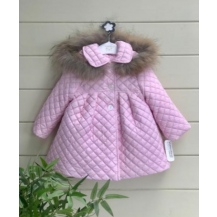 Abrigo acolchado capucha pelo rosa