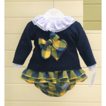 Conjunto blusa+braga+jersey cuadros mostaza y marino