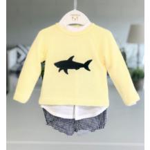 Conjunto pantalón vichy marino + blusa