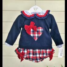 Blusa+braguita+jersey cuadros marino/rojo corazón