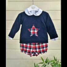 Blusa+bombacho+jersey cuadros rojo/marino estrella