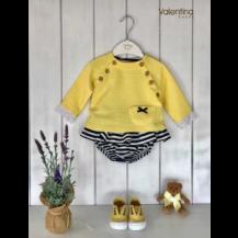 Sudadera amarillo + braguita volantes rayas marino