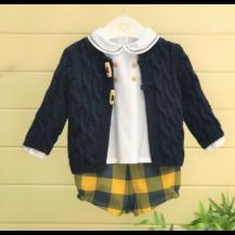 Conjunto blusa + pantalón cuadros azul y mostaza (sin chaqueta)
