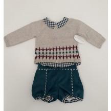 Conjunto bombacho pana turquesa + jersey efecto camisa