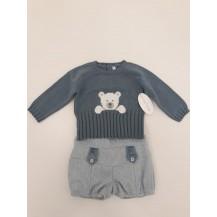 Conjunto bombacho + jersey osito tweed