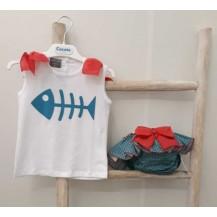 Conjunto braguita  + camiseta pez