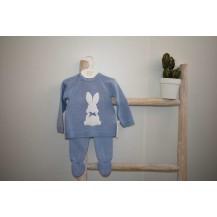 Conjunto jersey + polaina conejito azul empolvado