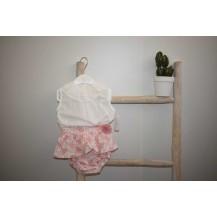Conjunto culote ramas rosa + blusa plumeti