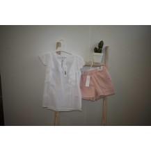 Conjunto short lunares rosa + blusa plumeti