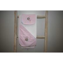 Capa baño + babero osito - luna rosa