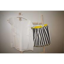 Conjunto falda rayas viscosa + blusa crep