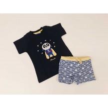 Conjunto camiseta + boxer estrellas azul y amarilla