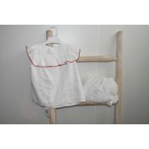 Conjunto blusa + braguita espiga blanca y rojo