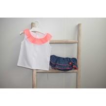 Conjunto camiseta + braguita denim fluor rosa