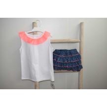 Conjunto camiseta + bombacho denim y fluor rosa