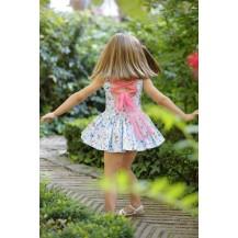 Vestido fucsia flores lazada espalda