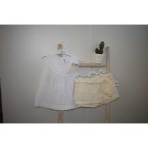 Conjunto blusa brocada flor y short beig