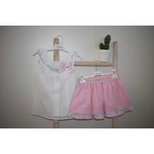 Conjunto falda rosa y blusa