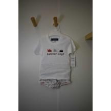 Conjunto camiseta + bombacho coronas blanco