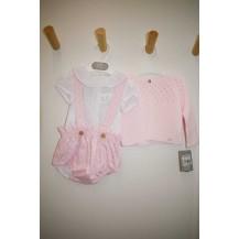 Conjunto ranita tirantes + blusa + chaqueta calados rosa
