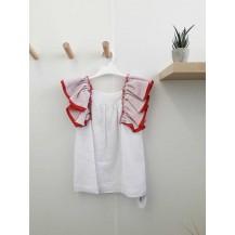 Vestido blanco volante sisa rojo