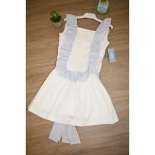 Vestido corte cintura volante blanco y celeste