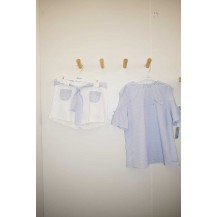 Conjunto short blanco + blusa rayas celeste