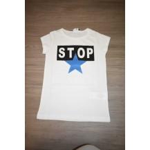 Camiseta stop blanco y azulón