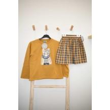 Falda cuadros mostaza y gris + sudadera